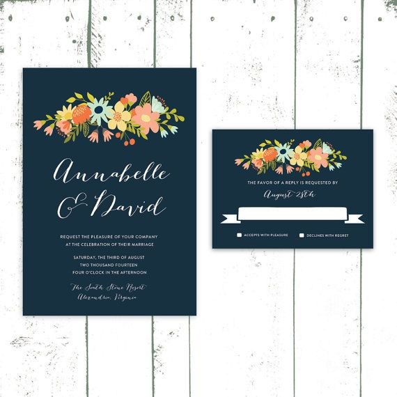 Navy Wedding Invitation, Floral Invitations in Coral and Navy Blue, Modern Wedding Stationery on Etsy, $140.00