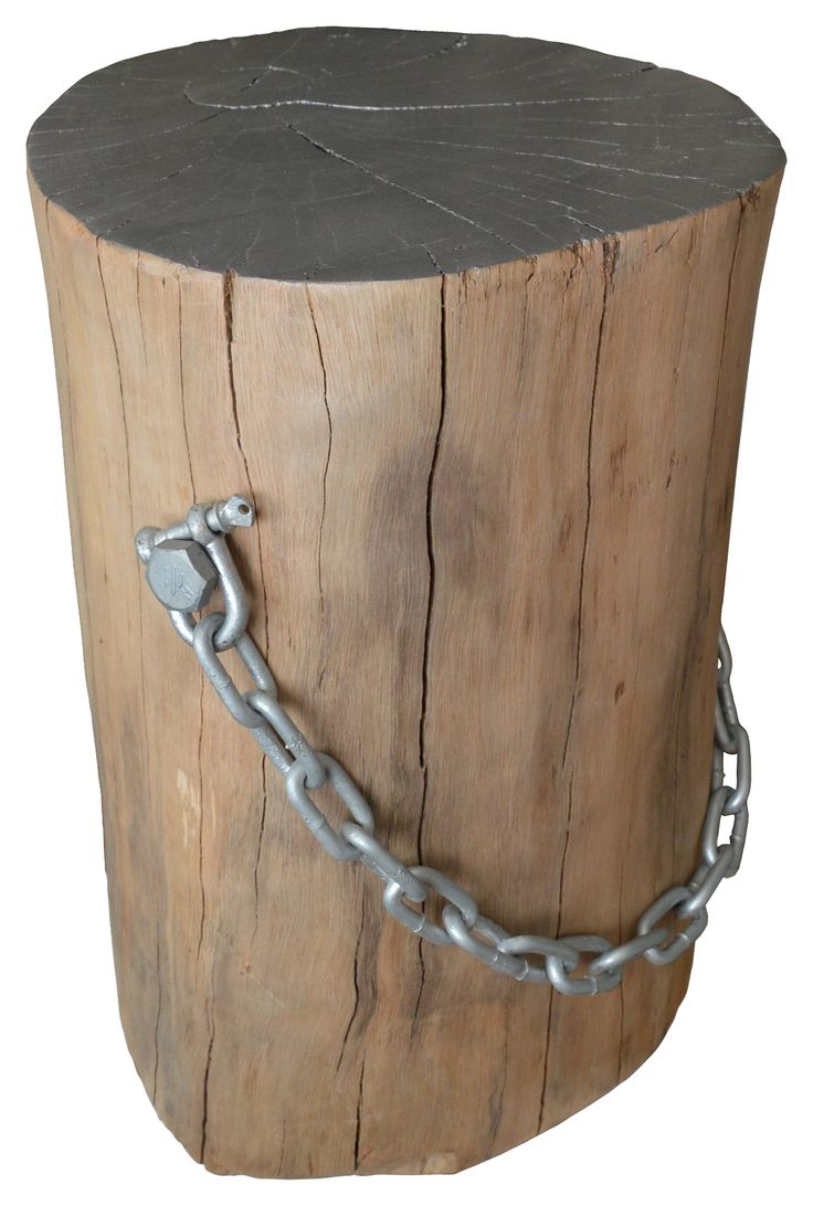 Log Side Table with Galvanised Chain Handle and Painted Top