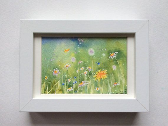I featured a daisy and dandelion field in this unique lively and fresh original postcard handpainted with watercolors.  By UNIQUEPOSTCARDS