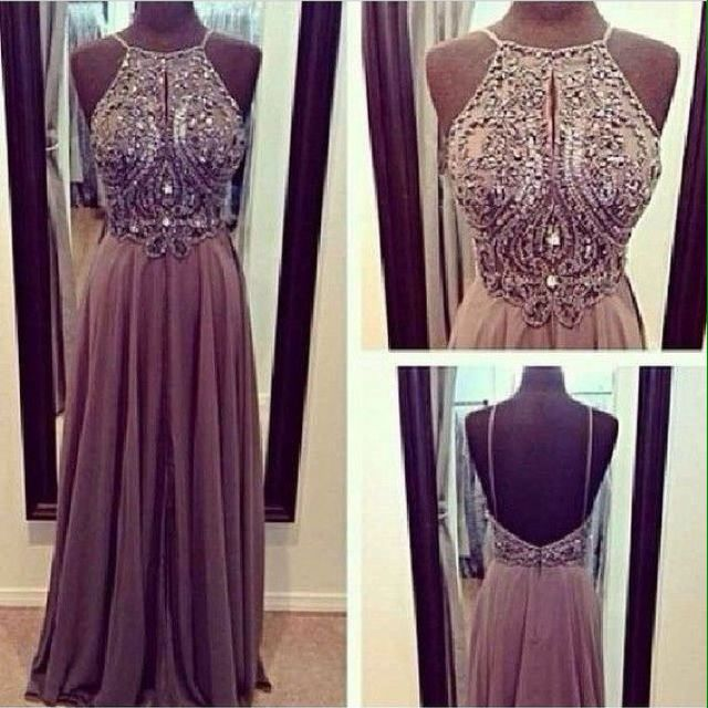 2014 Long Prom Dresses A Line Bead Bodice Halter Backless Formal Evening Gown
