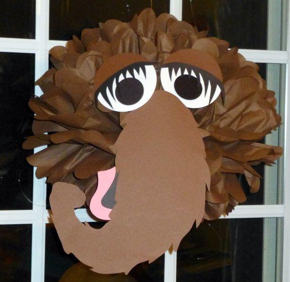 Brown Monster tissue paper pompom kit, inspired by Snuffy Snuffleupagus from Sesame Street. $9.99, via Etsy.