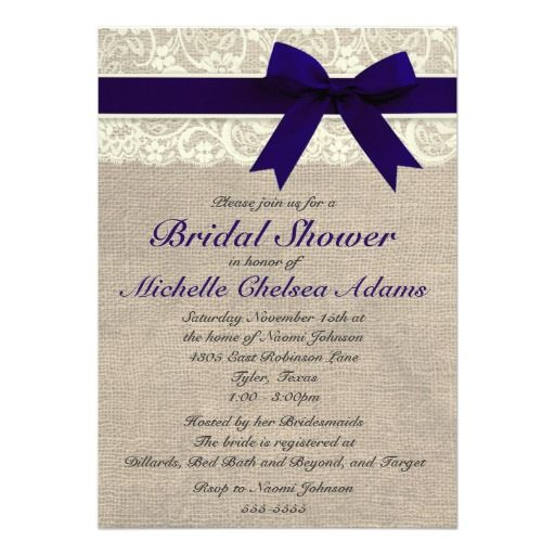 Navy Blue Lace Burlap Bridal Shower Invitation