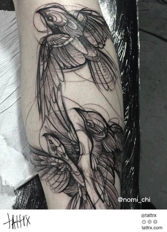 Nomi Chi e suas incríveis tattoos sketches na pele