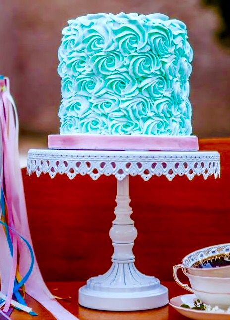Simple Tiffany blue wedding cake (or bridal shower cake) very pretty and elegant with the flowers.