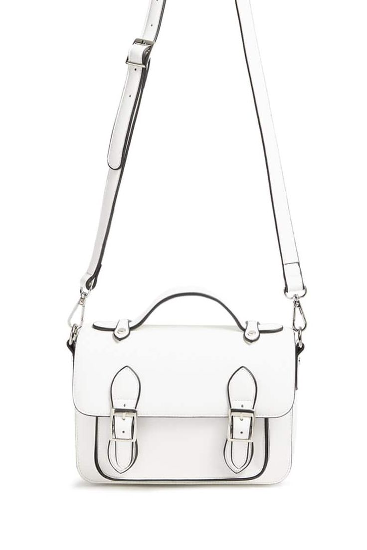 Product Name:Buckle-Front Faux Leather Satchel, Category:ACC_Handbags, Price:22.9