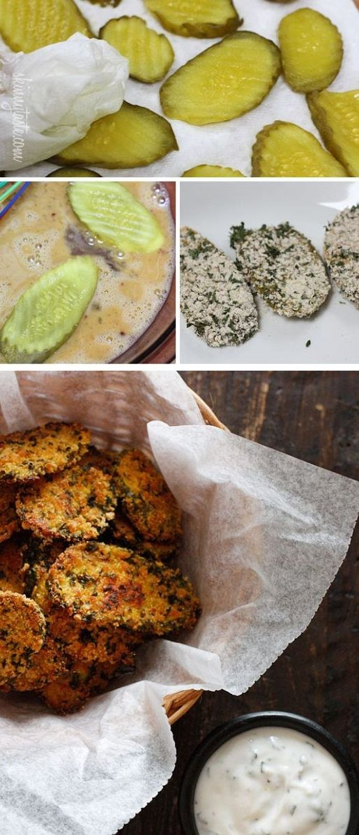 "Oven ""Fried"" Pickles With Skinny Herb Buttermilk Ranch Dip Recipes ..."