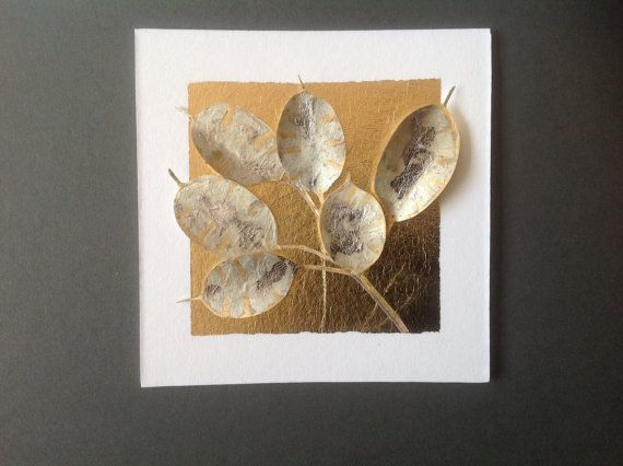 Honesty Seed Heads  framed original collage by JennyGunnArt