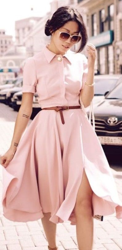 awesome romantic outfit idea / blush dress + sunglasses + heels
