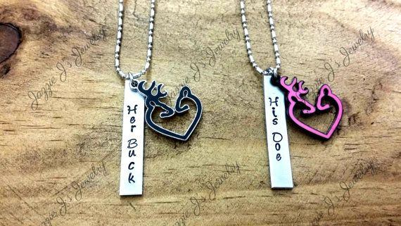Her Buck His Doe Hand Stamped Necklace Set with Buck/Doe Charm, Personalized Set, Personalized Gift Set for Couples, His and Hers Necklaces