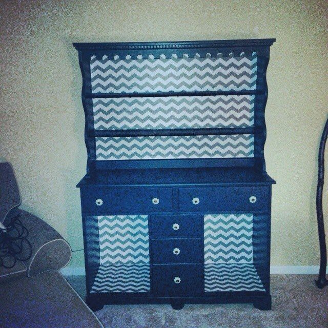 contact paper on furniture. chevron print is contact paper on furniture