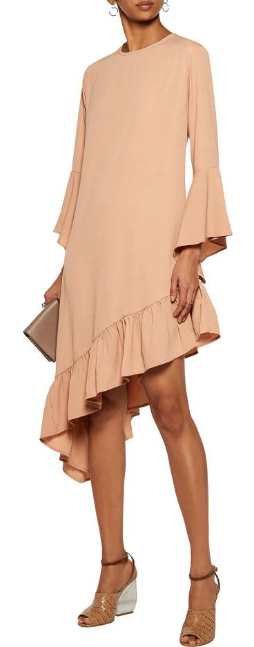 On SALE at 55% OFF! Robin Asymmetric Ruffled Crepe De Chine Mini Dress by W118 by Walter Baker. W118 by Walter Baker sand Robin dress . Crepe de chine . Asymmetric ruffled sleeves and hem . Button-fastening keyhol...