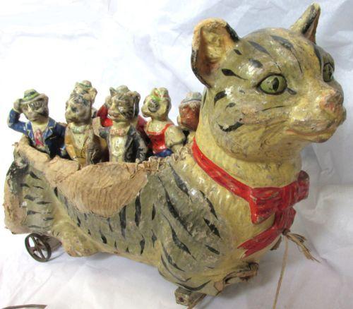 Papier Mache skittles set Germany cat wheels 1900 frog red indian france | eBay