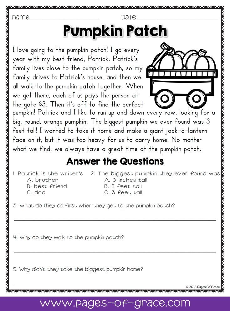 Reading With Questions Worksheets : Reading comprehension passages and questions for october