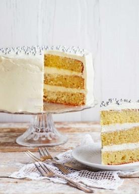 Mandel-Citron kage med hvid chokoladecreme. Intet mindre end himmelsk!
