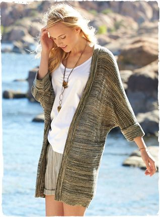 The essence of ease, our pima mesh cardigan is knit in striated rows of tweeded oatmeal, honey and charcoal pima. Buttonless placket; ¾-kimo...