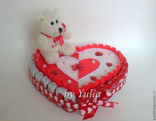 """Подарки для влюбленных ручной работы. Ярмарка Мастеров - ручная работа. Купить Сердце с шоколадными конфетами """"Я тебя люблю!"""". Handmade."""