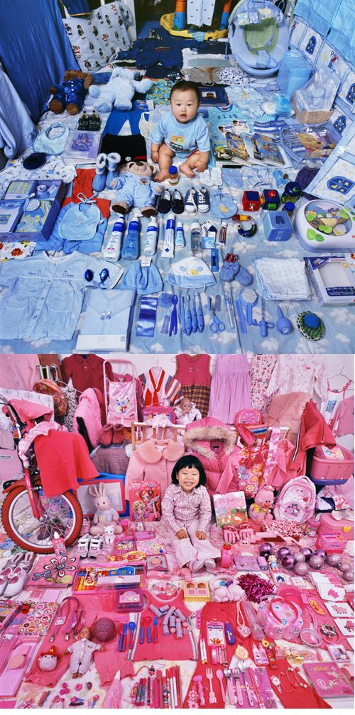 Binary Gender System The Pink  Blue Project by Artist JeongMee Yoon. Children surrounded by the color assigned to them by society based on their sex.