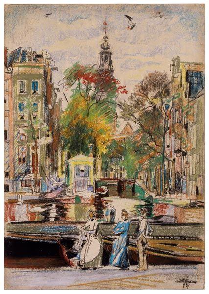 Zuidertoren (Groenburgwal), Amsterdam, pastel op papier, 1916, Martin Monnickendam