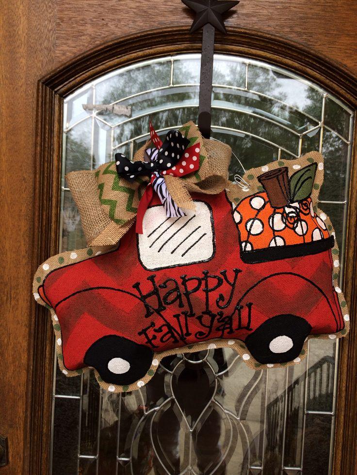 Red chevron pumpkin truck burlee hanger