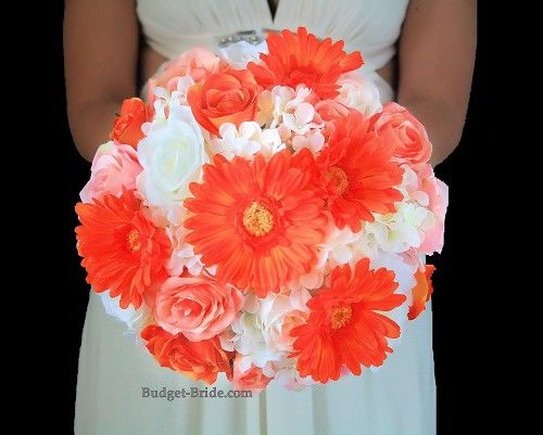 Wedding flower bouquet with orange gerbera daisies, coral and white roses and hydrangea