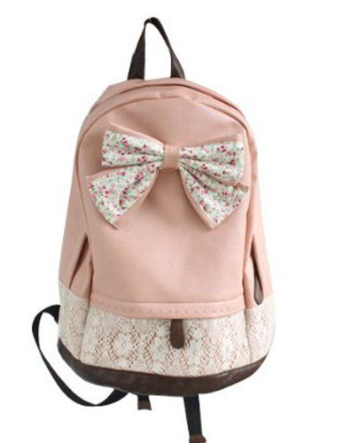 Crazycity New Top Trendy Cute Korean Lace Backpack College Style Leisure Canvas Backpack Gilrs Lovely Bow Rucksack Vintage Floral Print School Bag Retro Sweet Fashionable Outdoor Backpack for Teens Students Women Ladies Girls (Pink) Crazycity https://www.amazon.com/dp/B00EY25244/ref=cm_sw_r_pi_dp_lxZStb0XWGXSDP1K