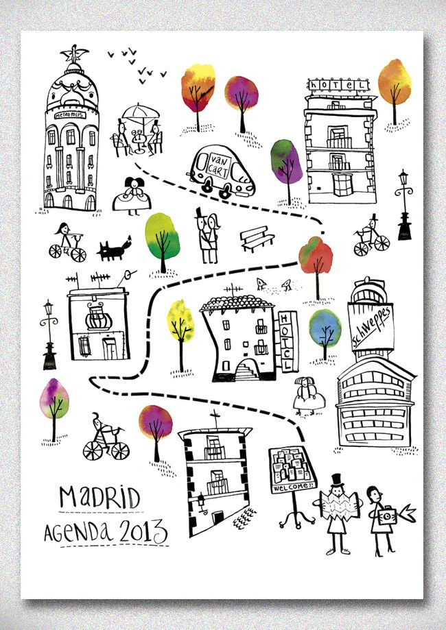 Vancart agendas 2013 - amaia arrazola illustration Madrid Lovely illustration for talking about places around town and using prepositions of location
