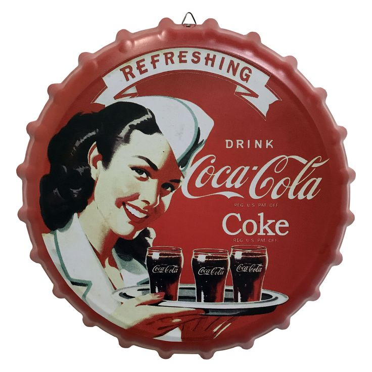 Creative Motion Industries Metal Cap Sign with Coca Cola