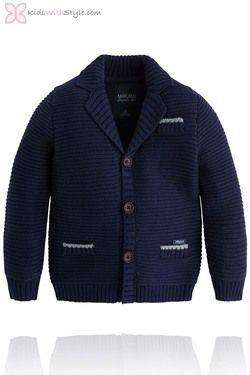 Boys Navy Thick Knit Cardigan/Jacket
