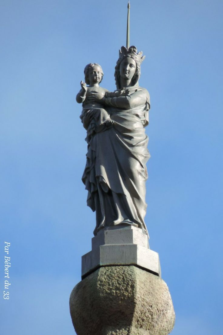 Statue on the spire of la Chapelle de Saint-Saveur, part of commune of Bellac, Haute Vienne, Dept 87.