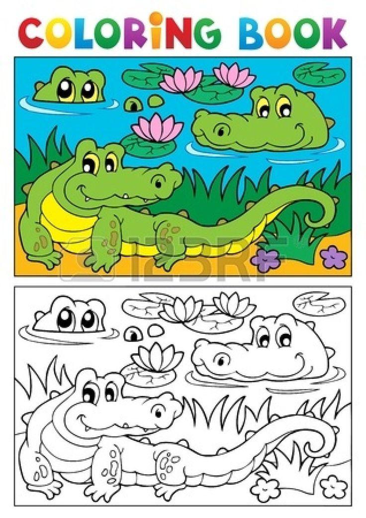 Coloring book crocodile image illustration