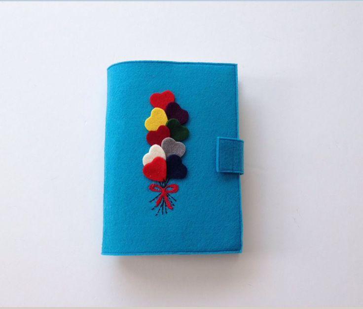 Balon Figürlü Mavi Keçeden  Kitap Kılıfı