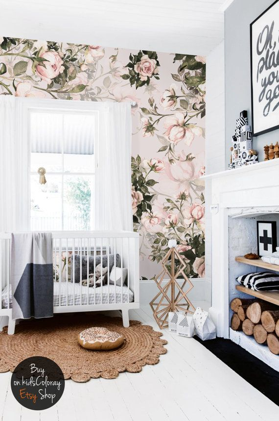 Roses, Floral, Pastel Wall Mural, Pale, Vintage Wallpaper, Self Adhesive,  Reusable, Kids Wallpaper, Nursery Wall Mural #26 Part 64