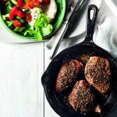 Za'atar  Ostrich Steaks with Tahini Sauce (sub steamed cauliflower for rice)