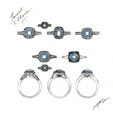 Sally Rose White Label Matthews diamond ring sketch. Platinum, Ceylon Sapphire and diamond ring, with a diamond halo and tapered baguette diamond shoulders. An Art Deco inspired ring with a modern take.