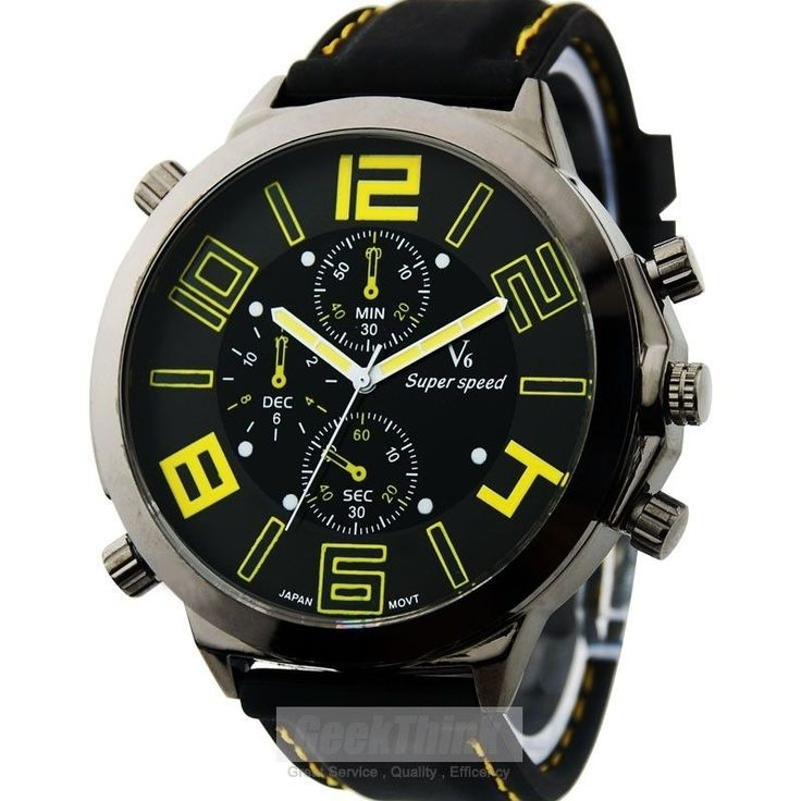 New Big Dail Vogue V6 Bubber Band Marks Hour Mark steel Analog Men's Military Casual Watches Fashion Gift