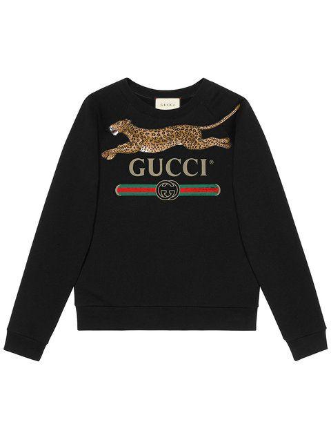 181b9c7a4c6 Gucci Gucci Logo Sweatshirt With Leopard in 2019