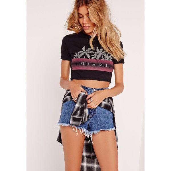 Missguided Miami Slogan Crop T Shirt ($10) ❤ liked on Polyvore featuring tops, black, palm tree crop top, cut-out crop tops, palm print crop top, relaxed fit tops and palm tree top