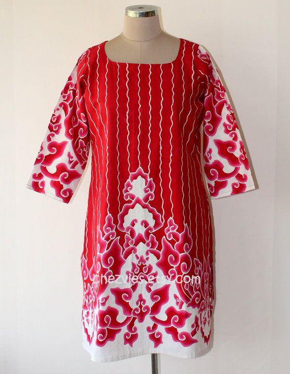 Bright Red Cotton Batik blouse tunic top size 10 US/ by chezvies, $38.00