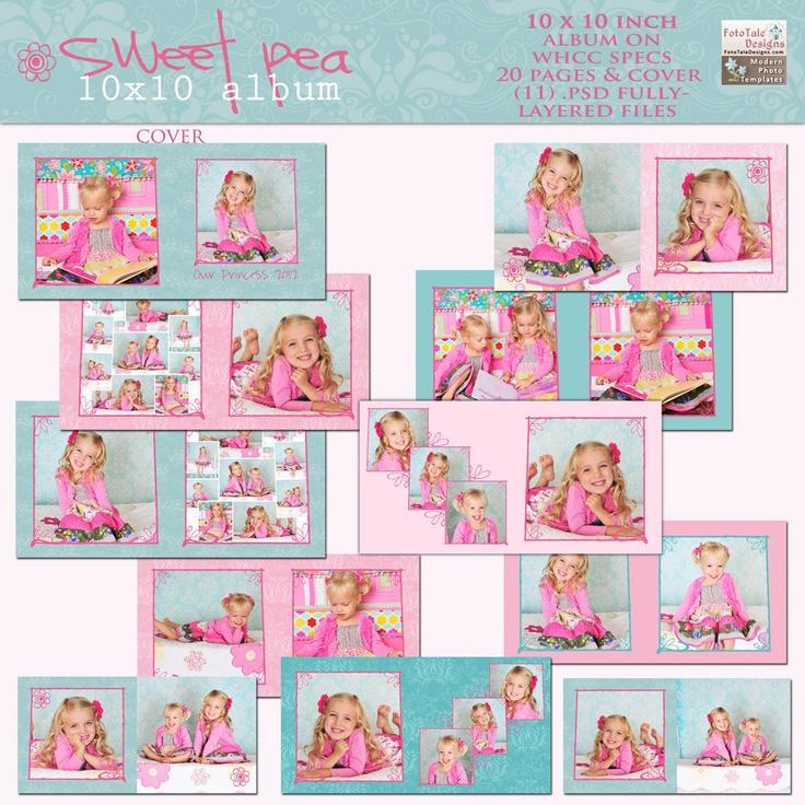 SweetPea 10x10 Photo Album- custom photo templates for photographers on WHCC Specs. $30.00, via Etsy.