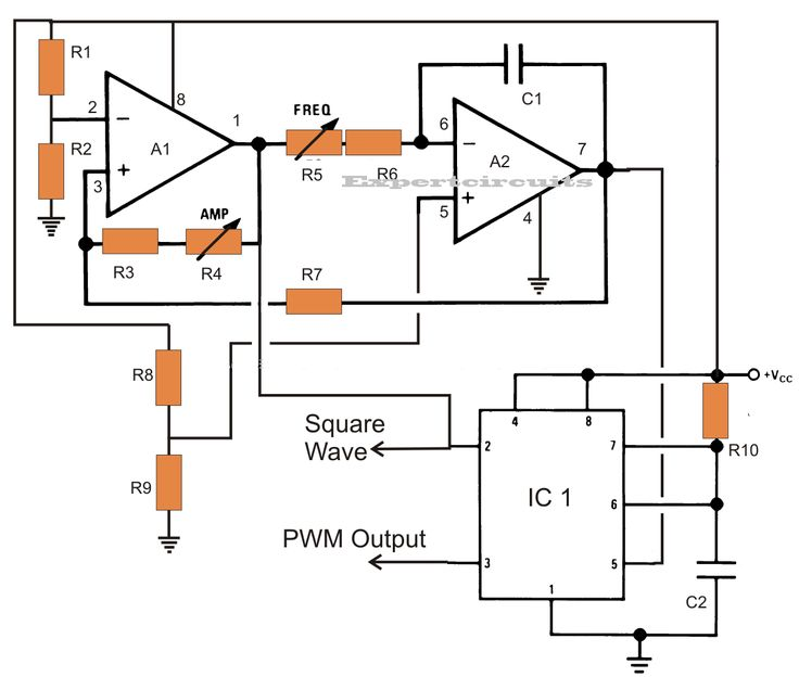 sawtooth wave oscillator using 555 ic