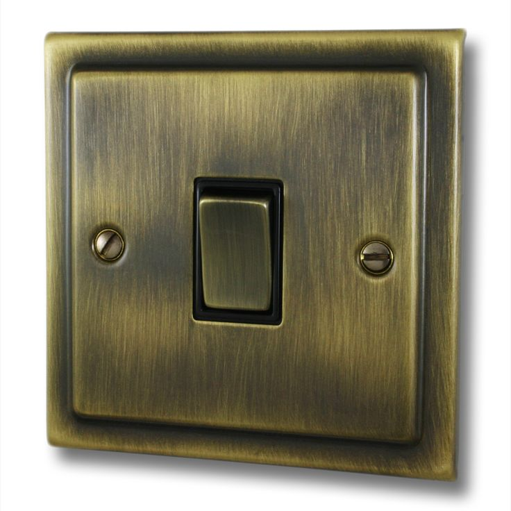 This is a Victorian Antique brass single 10 amp two way light switch.  The switch has matching brass rocker switches with a black plastic rocker insert. The plate is made of brass with an antique brass finish. This plate comes with a 12 month warranty as standard. It is manufactured in the UK.