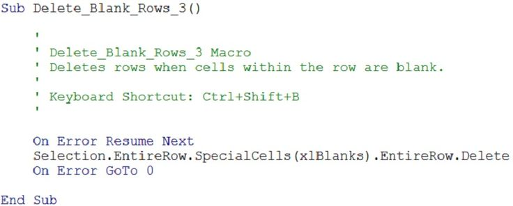 example of code for macro that deletes rows with blanks