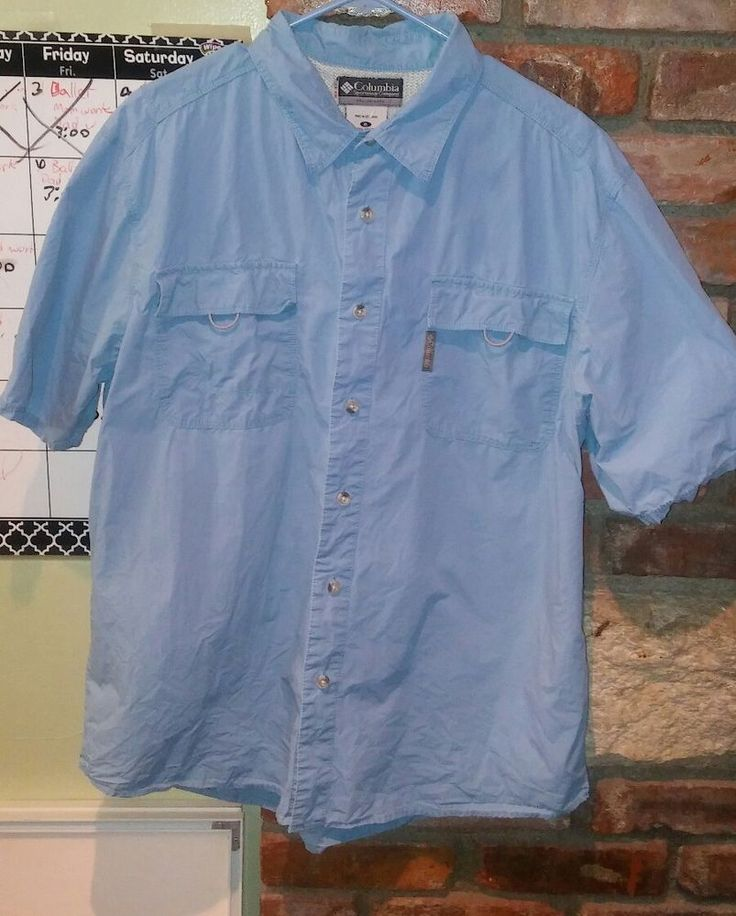 colombia sportswear fishing xl short sleeve blue shirt | Clothing, Shoes & Accessories, Men's Clothing, Casual Shirts | eBay!