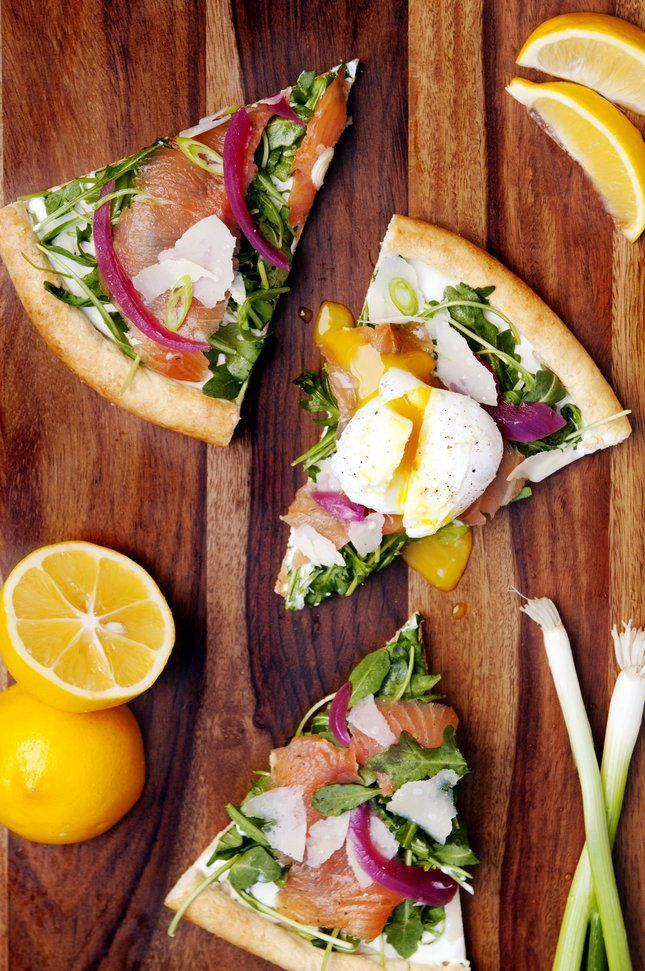 Gluten Free Smoked Salmon Breakfast Pizza with Poached Eggs
