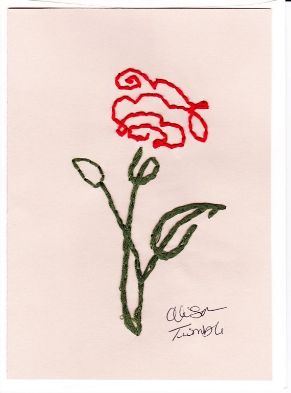 Blank Hand Embroidered Rose Gift Greeting Note by OnceUponACraft4U, $4.61