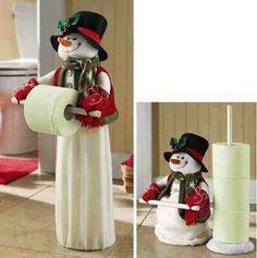 Porta papel higiênico de boneco de neve com molde