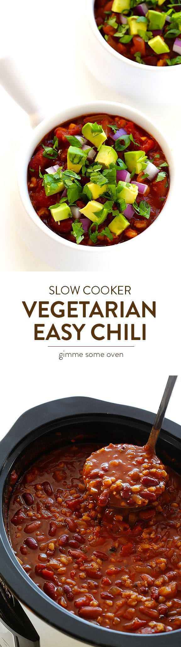 Slow Cooker Vegetarian Chili -- this recipe is easy to make in the crock pot or on the stovetop, plus it's naturally vegan, gluten-free, and SO delicious! | gimmesomeoven.com