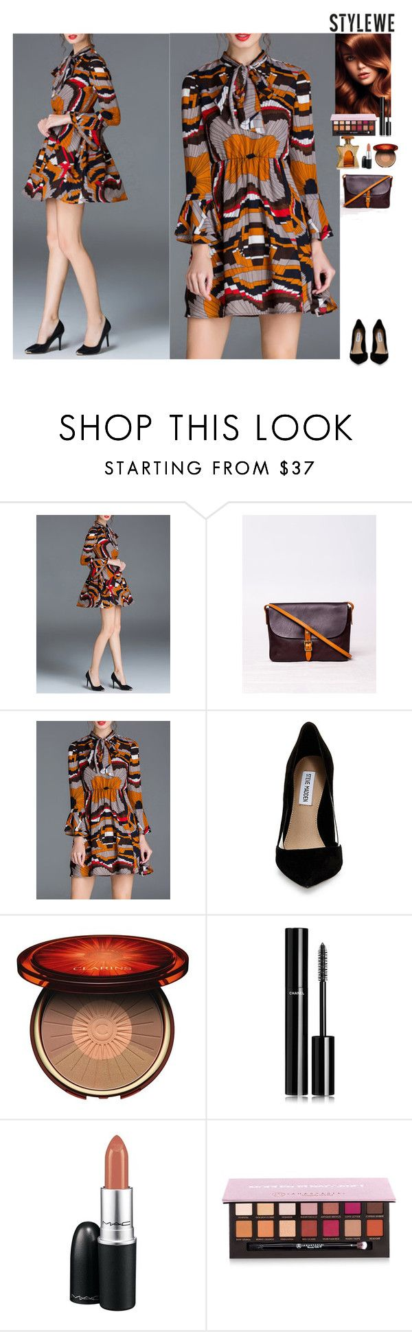 Fall outfit StyleWe by eliza-redkina on Polyvore featuring мода, Steve Madden, Chanel, Anastasia Beverly Hills, Clarins, MAC Cosmetics, Bond No. 9, outfit, like and look