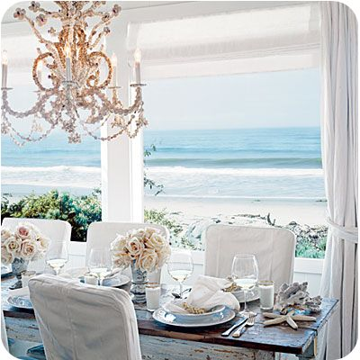 shabby chic beach: Dining Rooms, Tables Sets, Beaches Home, The Ocean, The View, Coastal Living, Dinners Parties, Beaches Houses, Ocean View