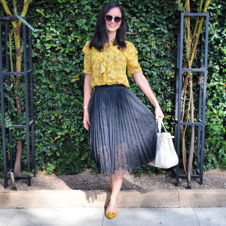 VIP.com Lace Pleated Midi Skirt, Victorian Ruffled Yellow Blouse, Yellow Nine West Pumps, Ralph Lauren Satchel, OOTD in Style, Fall Fashion 2017